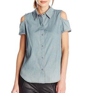 Cold Shoulder Button Down Jean Shirt